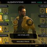 Uppgraderingsskärmen i Deus Ex: Human Revolution