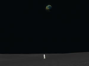 Min Zeus-kapsel som har landat på månen blickar tillbaka på sin hemplanet